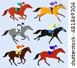 Race horses with jockeys set. Flat design vector illustration. 6 horses in different phases of the galop and different colors.Horse racing competitions.
