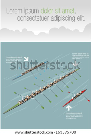 Race of men rowing team. Working together. - stock vector