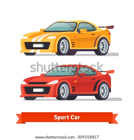 race sport car supercar tuning flat style vector illustration isolated on white background