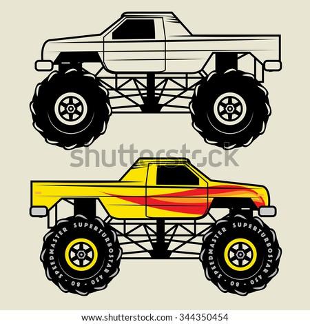 Race truck, vector illustration - stock vector