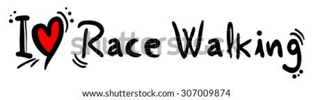 Race Walking love - stock vector