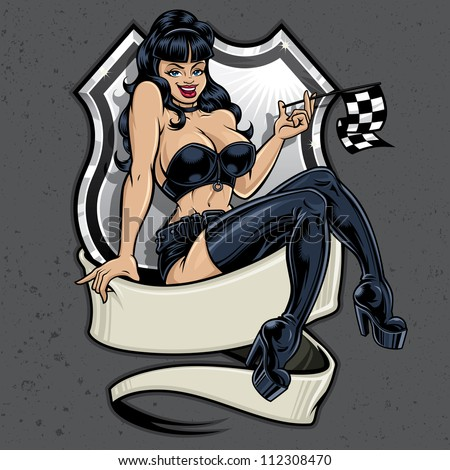 Racer Girl Pin-Up. Vector racing illustration of a sexy pin-up girl sitting atop a banner holding a checkered flag in front of a highway sign on a concrete textured background. - stock vector