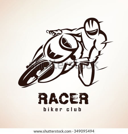 racer, sport bike symbol, motorcycle emblem - stock vector