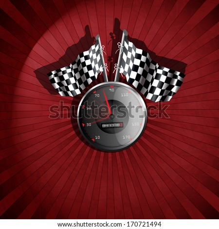 Racing background with speed tachometer
