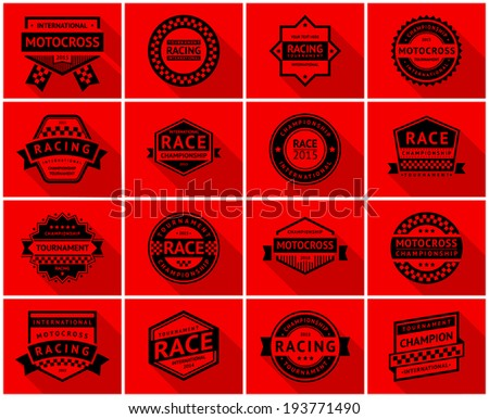 Racing badge set, vector illustration - stock vector