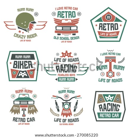 Racing badges in retro style. Graphic design for t-shirt. Color print on white background - stock vector