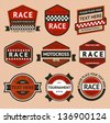 Racing badges set - vintage style. Vector illustration 10eps - stock vector