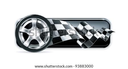 Racing banner with car wheel, vector - stock vector