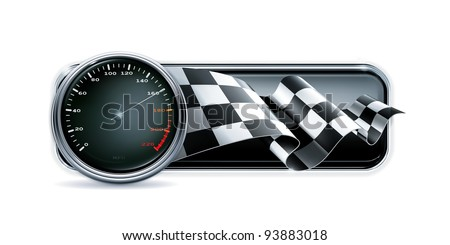 Racing banner with speedometer, vector