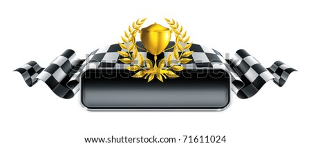 Racing banner with trophy, 10eps - stock vector
