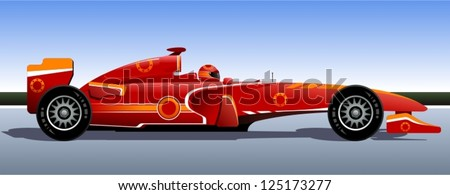 Racing bolide. The original race car. Red car. Vector illustration.