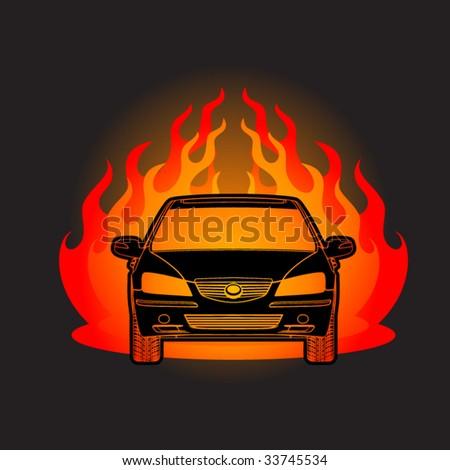 Racing car flame - stock vector