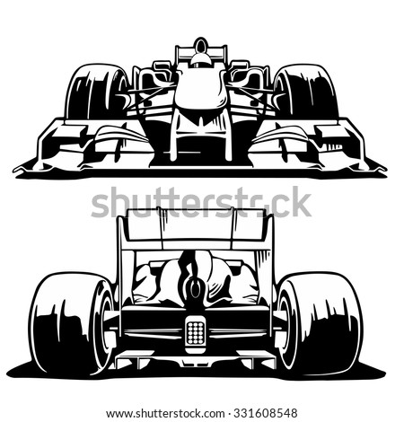 Racing car formula 1 front and back view.Black and white vintage vector set illustration for label, poster, web. - stock vector