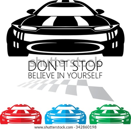 racing car front view. ready for vinyl cut - stock vector