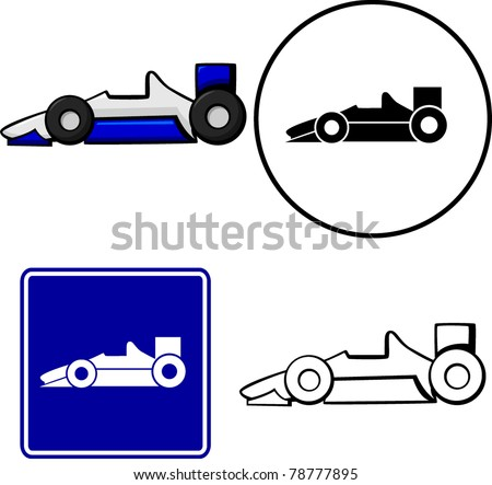 racing car illustration sign and symbol - stock vector