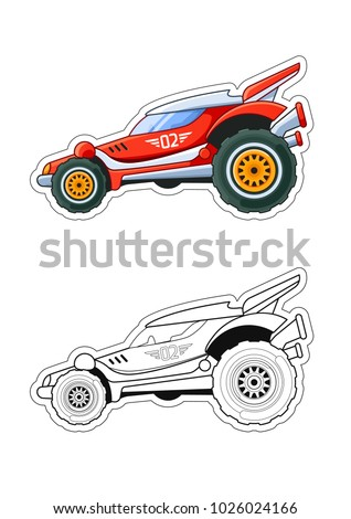 racing car side view coloring book stock vector 1026024166 shutterstock. Black Bedroom Furniture Sets. Home Design Ideas
