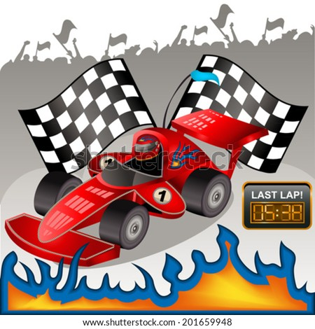 Racing car with flames. - stock vector