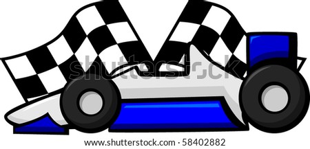 racing car with waving checkered flags in the background - stock vector