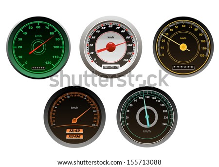 Racing cars speedometers set isolated on white background for sports design. Jpeg (bitmap) version also available in gallery - stock vector