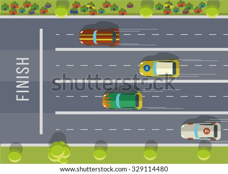 Racing cars top view. Flat vector illustration. - stock vector