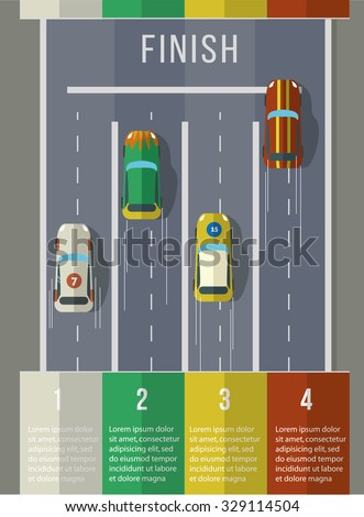 Racing cars top view. Infographic Template. Flat vector illustration. - stock vector