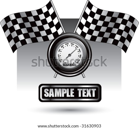 racing checkered flag and speedometer on nameplate
