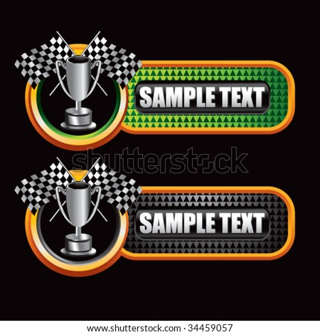 racing checkered flag and trophy on diamond textured banners
