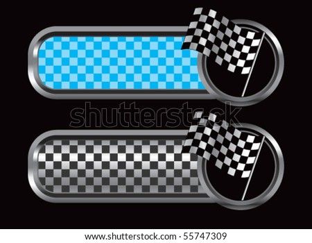 racing checkered flag blue and black checkered tabs - stock vector