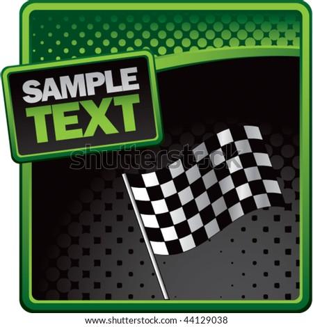 racing checkered flag green and black halftone banner - stock vector