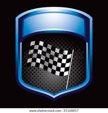 racing checkered flag on blue display - stock vector