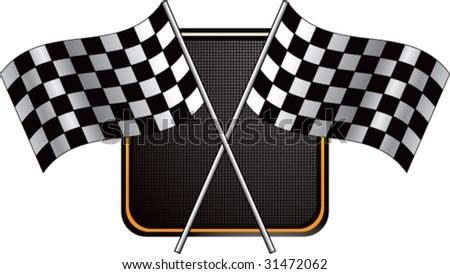 racing checkered flag on web button - stock vector