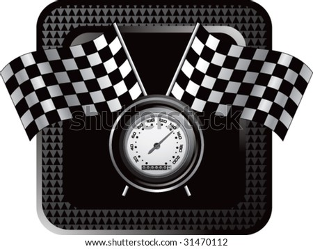 racing checkered flags and speedometer on black halftone web button