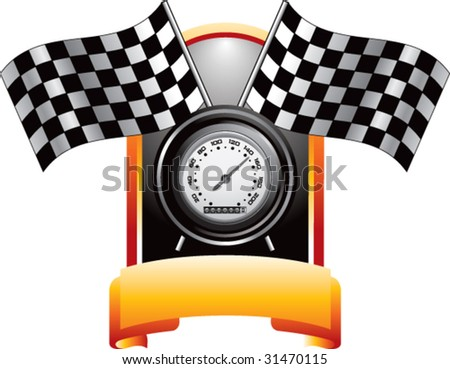 racing checkered flags and speedometer on gold crest - stock vector
