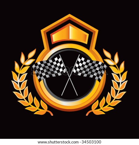 racing checkered flags on royal crest - stock vector