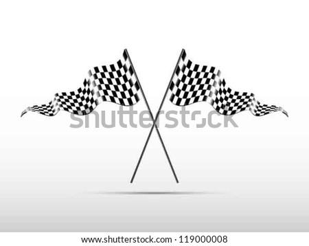 Racing checkered flags, vector - stock vector