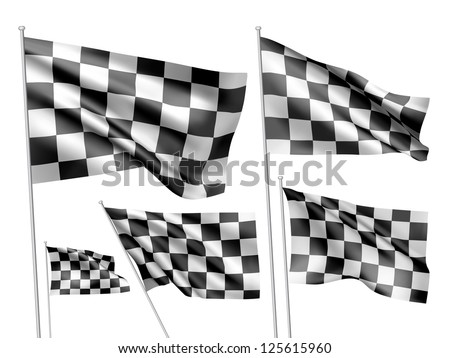 Racing checkered vector flags. A set of 5 wavy 3D flags created using gradient meshes - stock vector