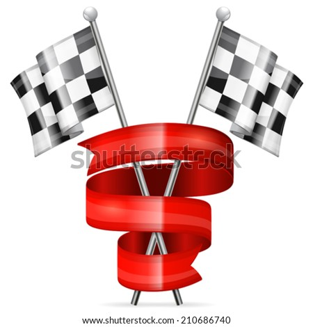 Racing Concept - Checkered Flags and Red Ribbon, vector isolated on white background