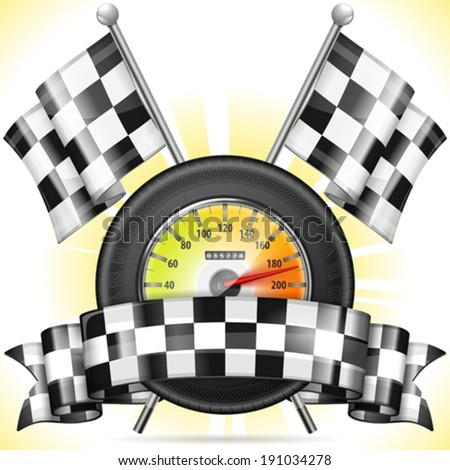 Racing Concept - Speedometer with Flags, Tire and Ribbon, vector illustration - stock vector