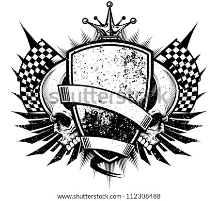Racing Crest Design: Skull Grunge Royale Grunge vector illustration of a black and white racing crest with skulls, blank banners, checkered flags, crown, badge and wings. - stock vector