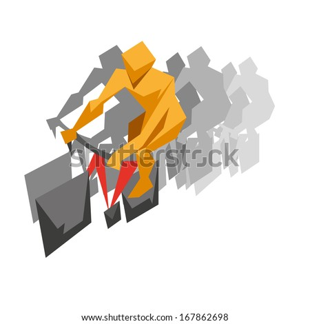 Racing cyclist abstract isolated on a white backgrounds - stock vector
