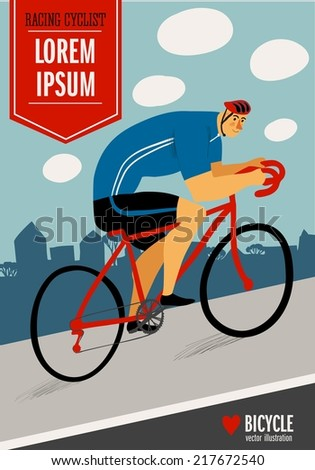Racing cyclist in action on city background. Colorful poster. Editable vector illustration