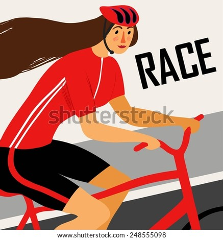 Racing cyclist lady in action poster. Editable vector illustration  - stock vector