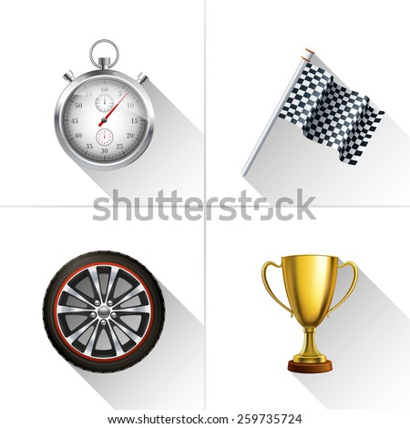Racing decorative icons set with realistic stopwatch flag wheel and trophy cup isolated vector illustration