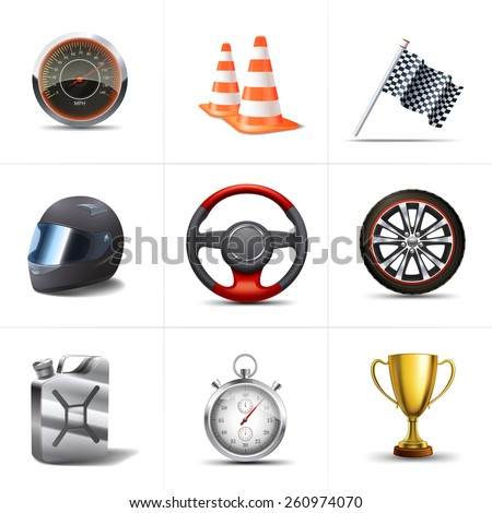 Racing decorative icons set with stopwatch traffic cones flag isolated vector illustration - stock vector