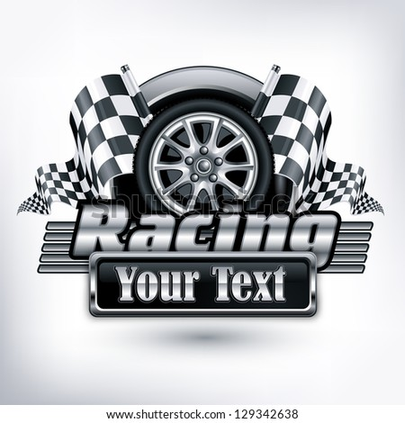 Racing emblem, crossed checkered flags, wheel & text on white, vector illustration - stock vector