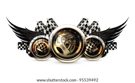 Racing emblem, vector - stock vector
