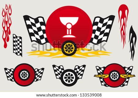 Racing emblems set - stock vector
