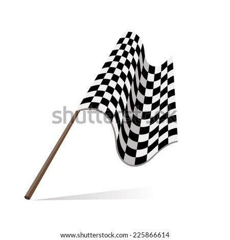 racing flag, checkered flag, fans flag - stock vector