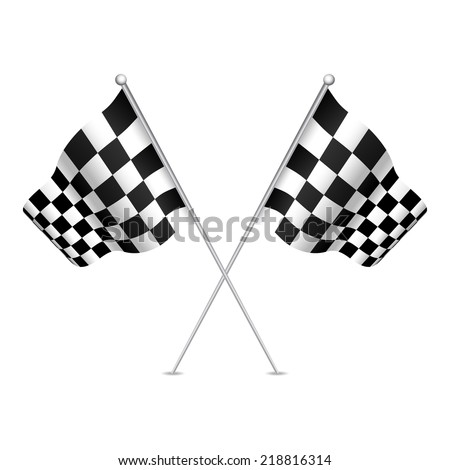 Racing flag (checkered flag) with nice shades. Vector illustration.