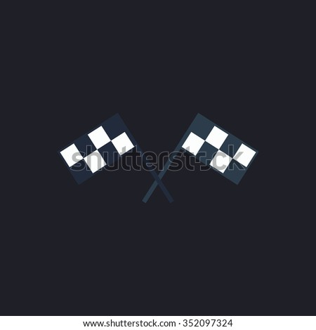 Racing flag Color vector icon on dark background
